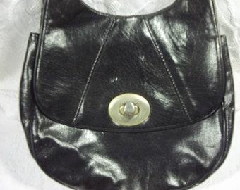 Vintage Black Pattened Leather Evening Bag with Metal Detail