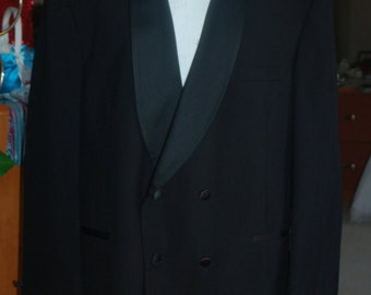 mens vintage double breasted tuxedo jacket 44R