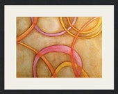 Art SALE / Original Watercolor / Abstract Wall Art / Golden Rings / Original Watercolor Painting / 11.5 x 16
