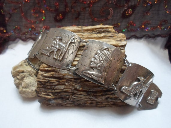 40% Off Today Only - Very Nice 900 Peruvian Silver Bracelet, Nice and Heavy w/ Safety Chain, Vintage