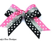 Large Pink and Black Polka Dot Sparkle Cheer Bow