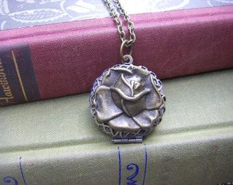 Rose Locket, Rose Necklace, bronze rose necklace,  Gift For Her, Keepsake Locket