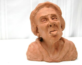 Lady sticking out her tongue- Terracotta ceramic (fired clay)  sculpture /Zsuzsa Miny