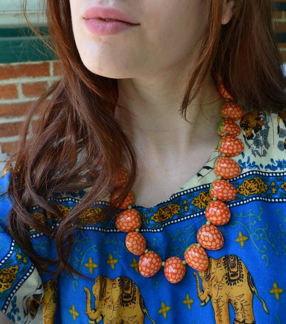 Summer Strawberry Handpainted Vintage Wooden Necklace