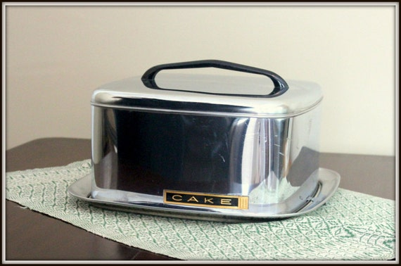 Mid-century Modern Lincoln Beautyware Stainless Covered Cake Plate
