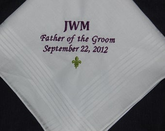 Father of the Bride Handkerchief Custom Made to order