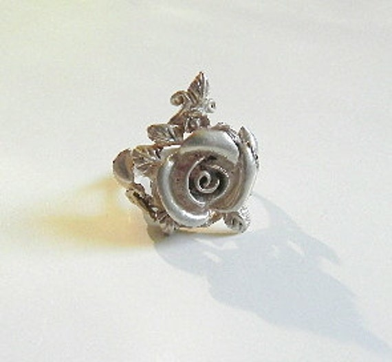 Vintage Sterling Silver Ring Rose and Curly Vines Ladies Size 5