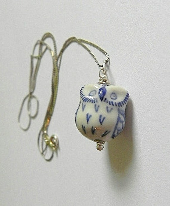 Blue and White China Owl Pendant Necklace Sterling Findings and Chain