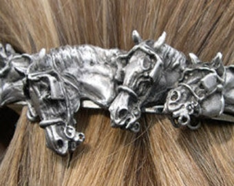Driving horses with harness barrette lead free pewter sculpture SATIN finish, French clip