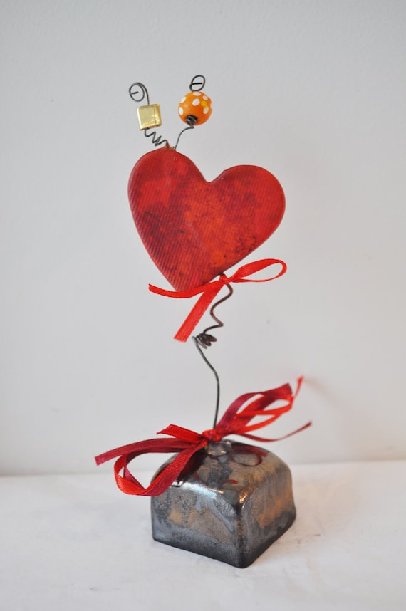 Red heart, small,  ceramic sculpture on a square chocolate brown base, made to order