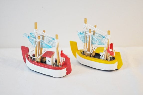 Miniature colourful fishing boats made of wood, handmade and handpainted , collectible retro  items