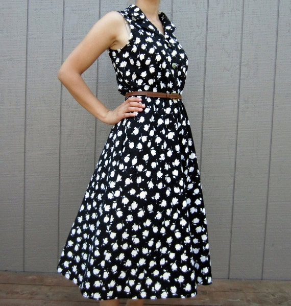 Vintage 1980s black and white floral Miss Dorby dress