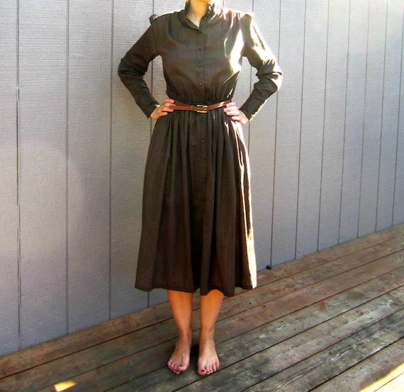 Vintage handmade long-sleeved button-up dress, black/brown, striped