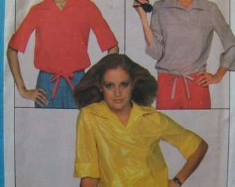 1970s Vintage  Pattern  Simplicity 8271  Misses' Size 10 Jiffy Pullover Tops