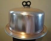 Vintage (Cnd Listing) Regal Cake Plate Cake Carrier Spun Aluminum Lid Bakelite Double Finger Handle