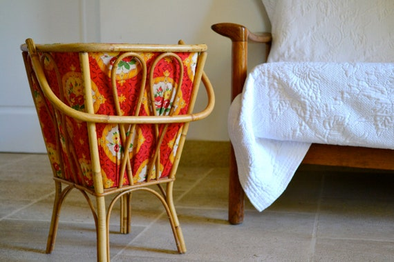 Vintage rattan 60's sewing basket // Travailleuse en rotin années 60