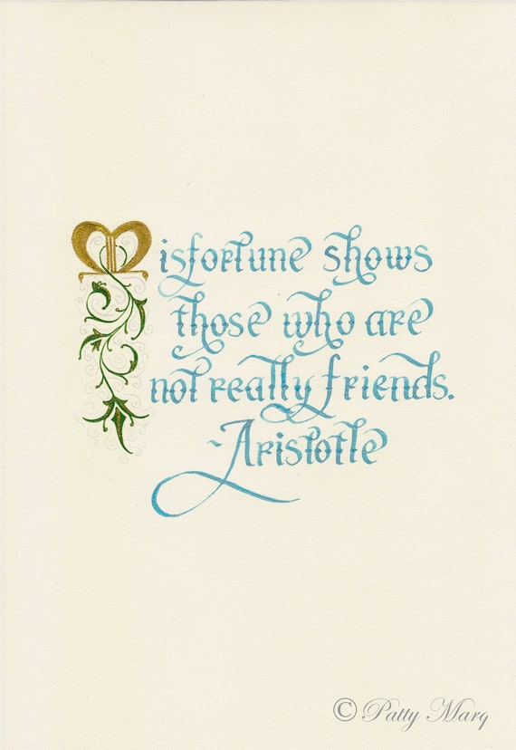 Items similar to friendship quote by aristotle done in