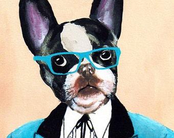 Mister Bulldog- Art Print Poster - Drawing Illustration - Acrylic Painting - Art Decor