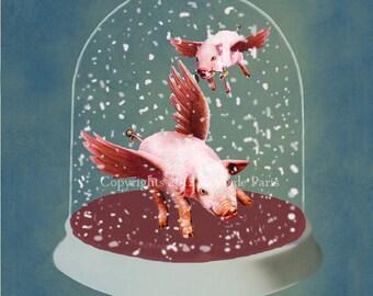 Animal painting Drawing Digital Print Mixed Media Illustration Print Art Poster Acrylic Painting  Illustration: 2 flying pigs in Snow Globe
