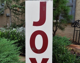 Christmas Sign, Christmas Wall Decor - Joy -  Typography Word Art  Custom Wood Sign Hand Painted Subway Style