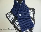 Classic Navy Chunky Croched Cowl Scarf with White Button