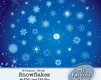 Digital Clipart Snowflakes  (40 separate digital graphics) Set for Personal and Commercial Use  Paper Crafts Digital Graphics