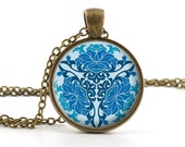 Vintage Blue Floral Pendant - Necklace - Blue Flower Chinese Art and Gift Bag - Picture Jewelry