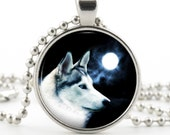 White Wolf Pendant - Wolf Jewelry - Silver Necklace - Moon & Arctic Wolf Art - Photo Pendant - Gift Bag Included