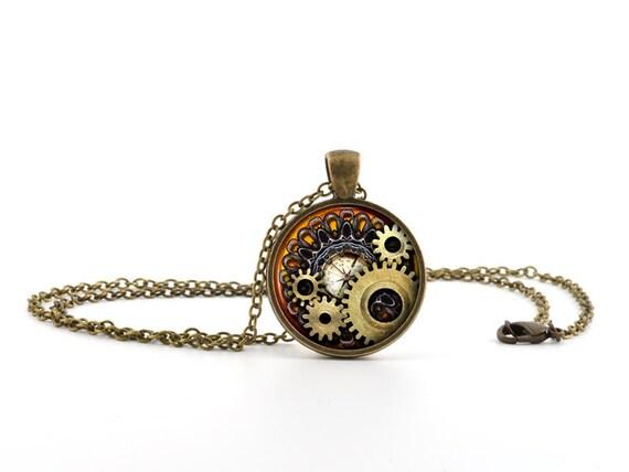 steampunk halskette mit anh nger vintage bronze kompass g nge zahnrad schmuck ebay. Black Bedroom Furniture Sets. Home Design Ideas