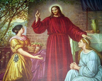 Jesus Christ with Mary and Martha Artist Dietrich Vibrant Vintage Religious 1930s Lithograph Print Home Decor Picture Wall Hanging