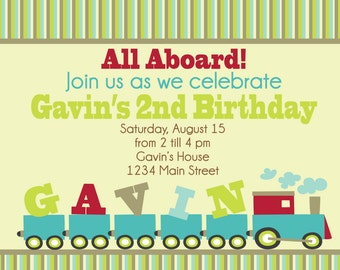 Train Birthday Printable Invitation