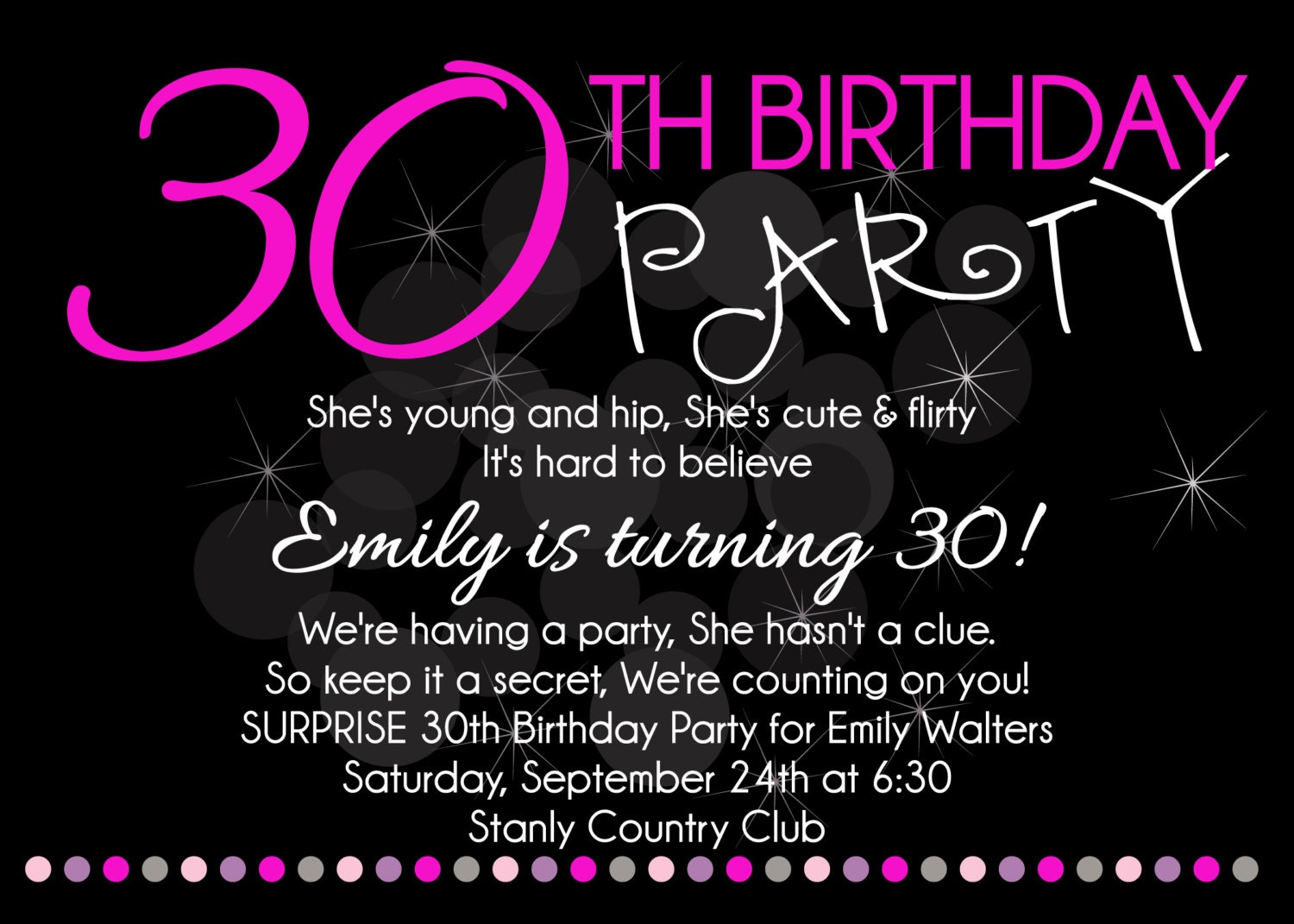 Adult Birthday Party Printable Invitation