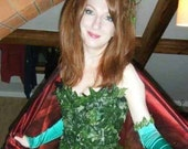 Poison Ivy Corset with  Booty Shorts Hotpants Fancy Dress Costume Party Any Size Made to Order UK Seller Halloween Superhero Villain