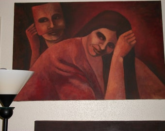 Oil painting of masked figure and woman