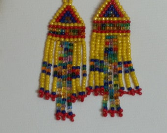 Long seed beaded earrings with multicolored beads