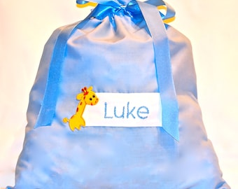 Personalised baby bag with drawstrings for boys