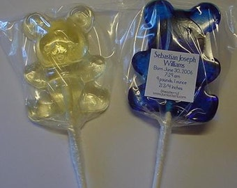 1 dz Hard Candy Teddy Bear Shaped Lollipop Baby Shower Favors w/ Personalized Back Labels