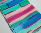 Original Abstract Painting on Notebook - Magenta, Pink, Blue and Green