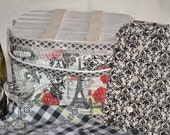 LAYAWAY for TaNiA--Mom/Daughter Paris Vintage Collage-Decoupage Picnic Basket with Vintage Linens, Wine Glasses, and Shelf