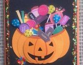 Candy Stuffed Pumpkin Halloween Card