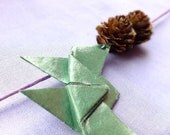 SALE Green Origami Butterfly and Pine Cone necklace, on Lilac Cotton cord.