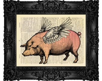 When Pigs Fly 2, When Pigs Fly Dictionary Art Print Vintage Antique Upcycled Book Page, Flying Pig, Winged Pig 76