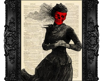 The Masque of the Red Death - ORIGINAL ARTWORK -  Halloween Art Dictionary Art Print Vintage Upcycled Book Page no.83