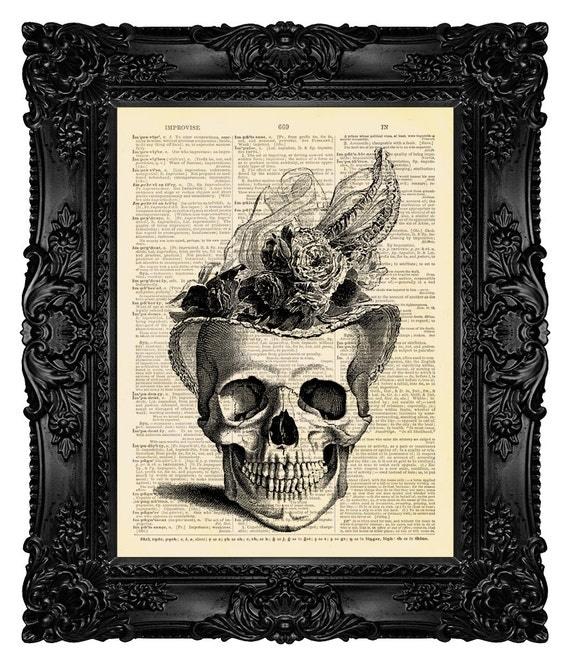 Human Skull, Horror Wall Decor, Dark Poster, Real, Dictionary Art Gift, Calavera Catrina Skull Art Day Of The Dead, Halloween Print Gift 136
