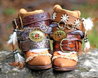 Upcycled Custom REWORKED vintage festival boho COWBOY BOOTS - boho boots - western boots gypsy boots cowgirl boots leather ankle boots