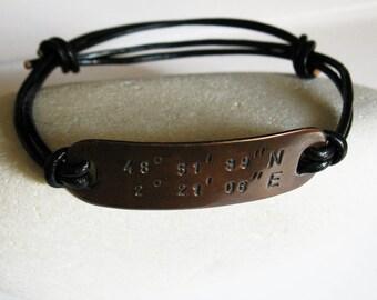 Mens/Women Copper Bracelet Leather Bangle, Personalized Latitude Longitude Coordinates GPS, Hand Stamped Custom Message, Anniversary Gift