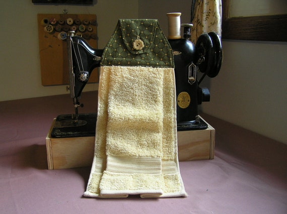 Olive with poka dot and yellow Kitchen or bath hanging hand towels