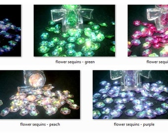 5 gram Iridescent Flower Sequins|Green Flower Sequins|Blue Flower Sequins|Magenta Flower Squins|Peach Flower Sequins|Purple Flower Sequins