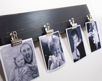 Cottage Chic Wall 4 Clip Photo/Note Holder- Black - Handcrafted Wooden- French - Country Decor- Choose From Many Colors