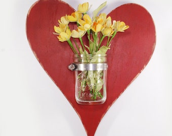 Handcrafted Wooden Heart wall Vase- Mason Jar Vase-Red Door-Cottage Decor-Shabby Chic-Vintage Style-Country Decor-Rustic-Primitive